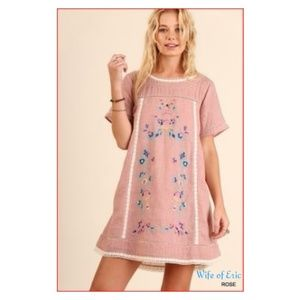 Umgee A-Line Embroidered Short Sleeve Dress - Rose